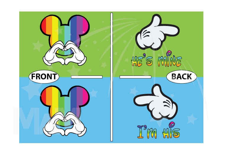 LGBT Gay Mickey Mouse Head Rainbow Colors I'm His He's Mine Mickey Mouse Hands married with mickey