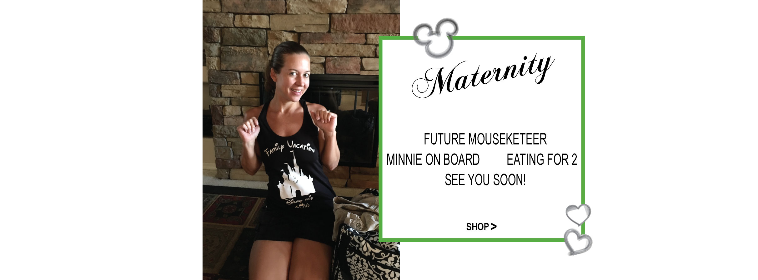 Lady in pink Maternity T Shirt with custom graphic and sonogram with mickey head