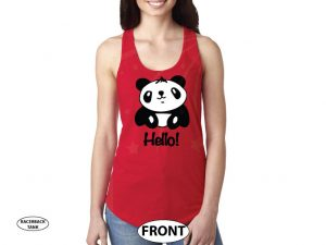 Pandabear, Hello, Super Cute Shirt married with mickey red racerback tank top