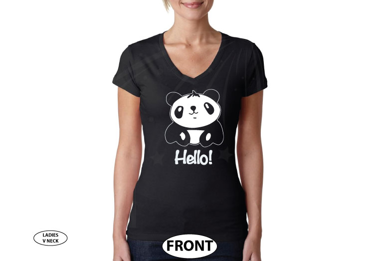Pandabear, Hello, Super Cute Shirt married with mickey black v neck