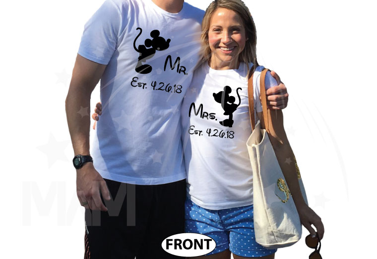 His and Hers Disney Font, Kissing Mickey and Minnie Mouse For Mr and Mrs With Wedding Date married with mickey white tshirts
