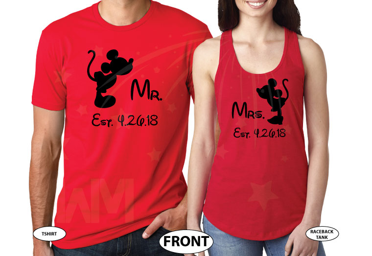 His and Hers Disney Font, Kissing Mickey and Minnie Mouse For Mr and Mrs With Wedding Date married with mickey red tee and tank