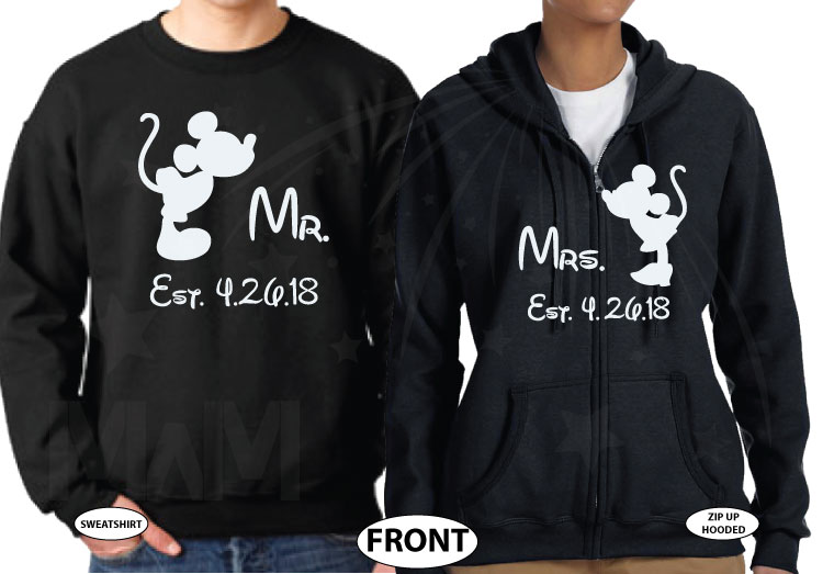 His and Hers Disney Font, Kissing Mickey and Minnie Mouse For Mr and Mrs With Wedding Date married with mickey black sweaters