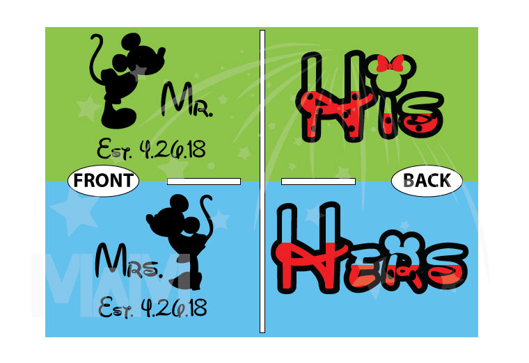 His and Hers Disney Font, Kissing Mickey and Minnie Mouse For Mr and Mrs With Wedding Date married with mickey