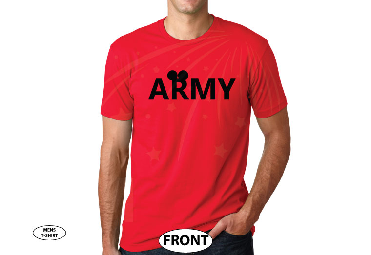 Army Design With Mickey Mouse Ears married with mickey red tshirt