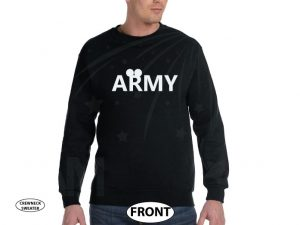 Army Design With Mickey Mouse Ears married with mickey black sweater