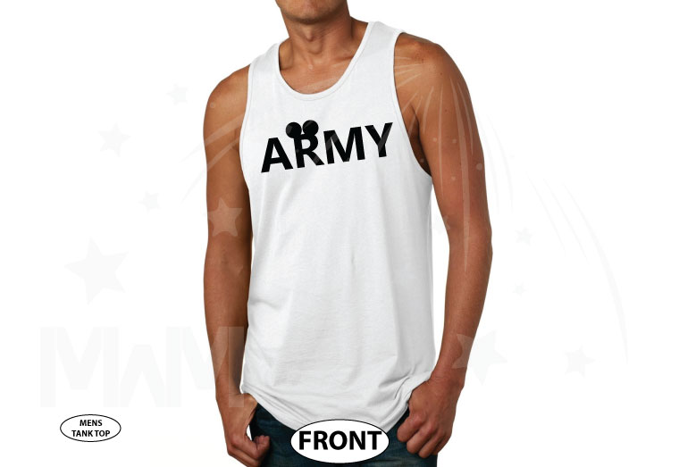 Army Design With Mickey Mouse Ears married with mickey white tank top