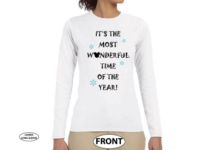 500453 It's the Most Wonderful Time of the Year, Mickey Mouse Head, Snowflakes, Christmas Shirt married with mickey white long sleeve