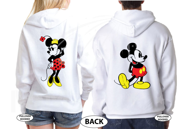 500455 Mr and Mrs with Big Mickey Ears, Minnie and Mickey Mouse Old Style Designs married with mickey white hoodies
