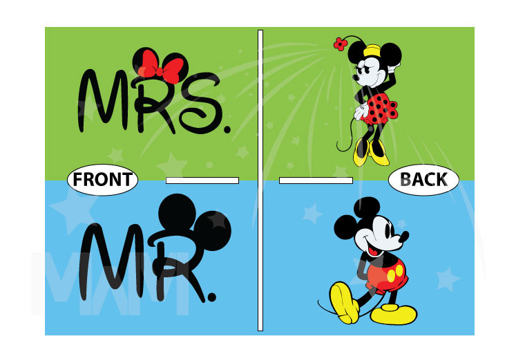 500455 Mr and Mrs with Big Mickey Ears, Minnie and Mickey Mouse Old Style Designs married with mickey