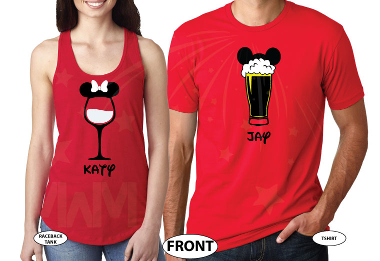 Mickey Mouse Beer Cup With Ears, Minnie Mouse Wine Glass With Ears and Bow married with mickey red tee and tank