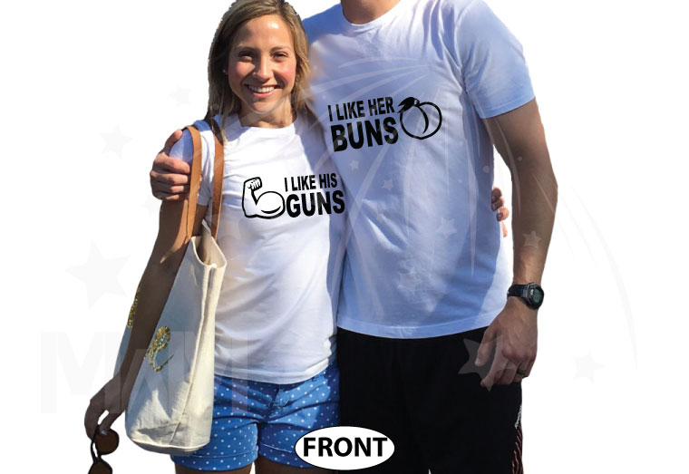I Like His Guns, I Like Her Buns Matching Couple Shirts married with mickey white tshirts