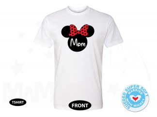 400135am Next Level Men's Cut Premium Fitted Sueded Crewneck, Mom Shirt Disney Minnie Mouse Cute Red Bow