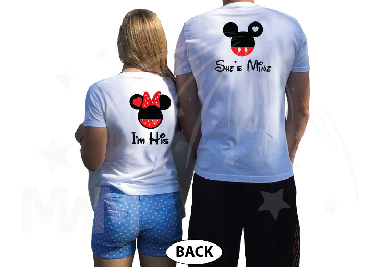 500058 Soulmate Matching Couple Shirts, I'm His Minnie Mouse Head, She's Mine Mickey Mouse Head married with mickey world's cutest couple shirts white tshirts
