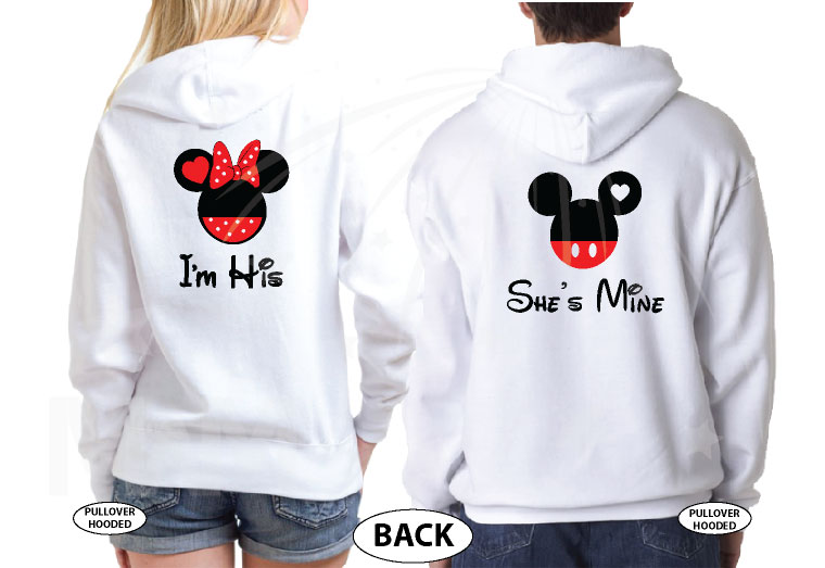 500058 Soulmate Matching Couple Shirts, I'm His Minnie Mouse Head, She's Mine Mickey Mouse Head married with mickey world's cutest couple shirts white hoodies