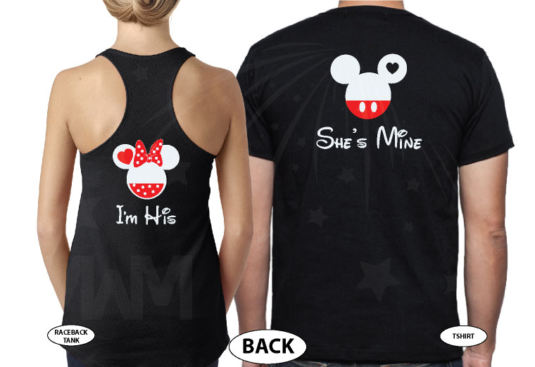 500058 Soulmate Matching Couple Shirts, I'm His Minnie Mouse Head, She's Mine Mickey Mouse Head married with mickey world's cutest couple shirts black tee and tank