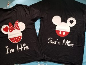 Soulmate Matching Couple Shirts, I'm His Minnie Mouse Head, She's Mine Mickey Mouse Head, married with mickey, black matching t shirts