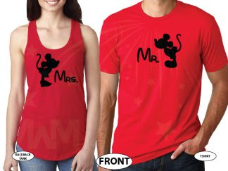 Mr and Mrs Kissing Mickey Minnie Mouse, His and Hers married with mickey world's cutest couple shirts red tee and tank