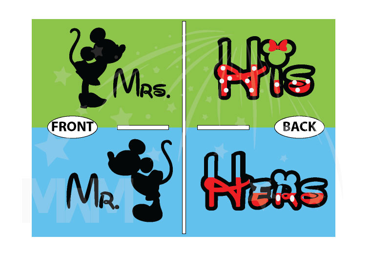 Mr and Mrs Kissing Mickey Minnie Mouse, His and Hers married with mickey world's cutest couple shirts