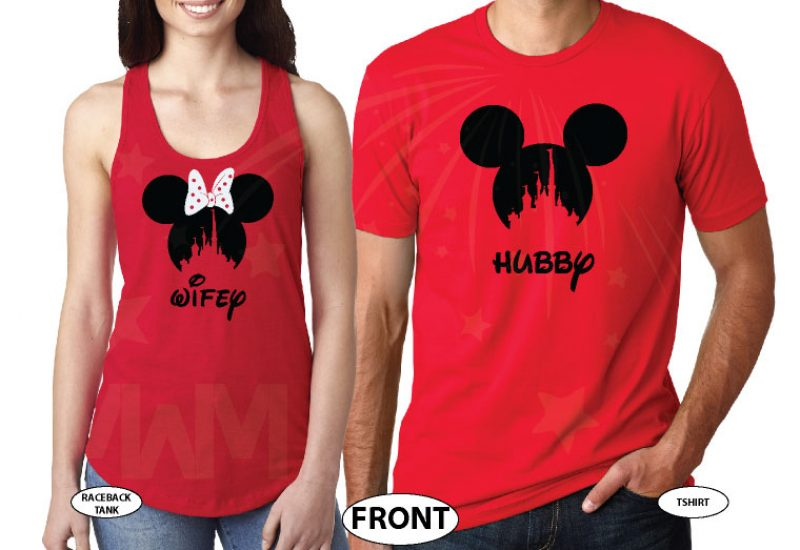 Hubby and Wifey Matching Couple Shirts, Mickey Minnie Mouse Heads married with mickey world's cutest matching couple shirts red tee and tank