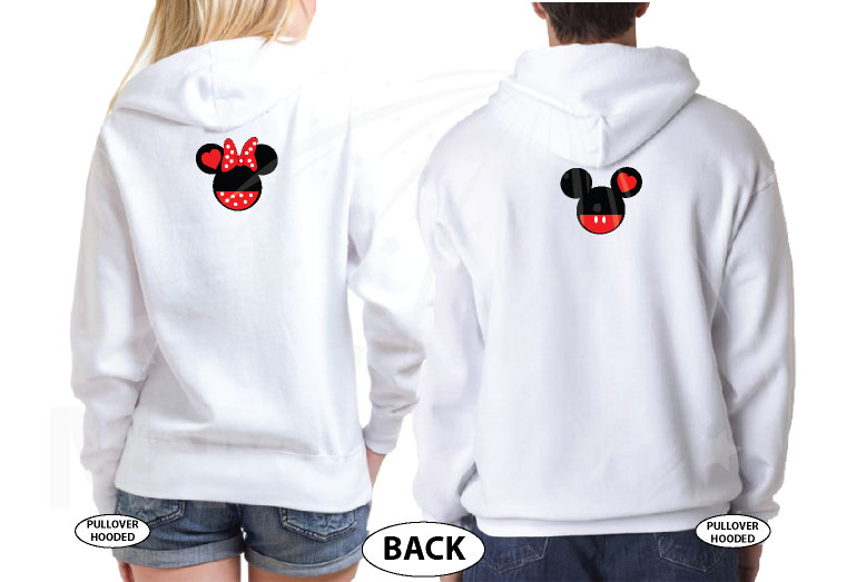Hubby and Wifey Matching Couple Shirts, Mickey Minnie Mouse Heads married with mickey world's cutest matching couple shirts white hoodies