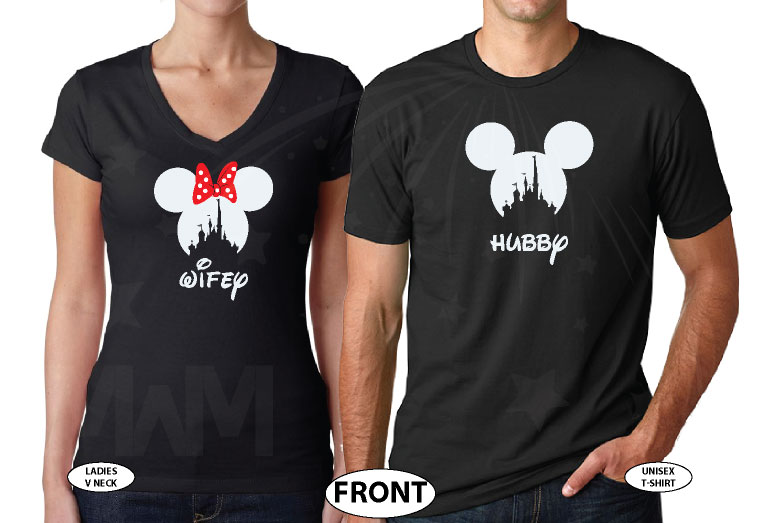 Hubby and Wifey Matching Couple Shirts, Mickey Minnie Mouse Heads married with mickey world's cutest matching couple shirts black tshirts