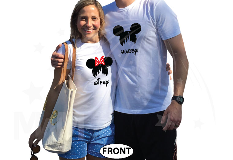 Hubby and Wifey Matching Couple Shirts, Mickey Minnie Mouse Heads married with mickey world's cutest matching couple shirts white tshirts
