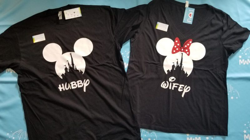 Hubby and Wifey Matching Couple Shirts, Mickey Minnie Mouse Heads, married with mickey, black matching couple shirts