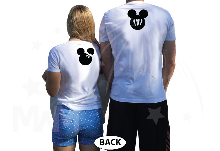 Minnie Mouse Bride, Mickey Mouse Groom, Just Married With Wedding Date, Married With Mickey, world's cutest matching couple shirts white tshirts