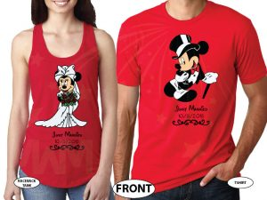 Minnie Mouse Bride, Mickey Mouse Groom, Just Married With Wedding Date, Married With Mickey, world's cutest matching couple shirts red tee and tank