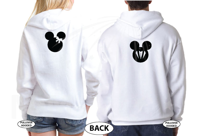 Minnie Mouse Bride, Mickey Mouse Groom, Just Married With Wedding Date, Married With Mickey, world's cutest matching couple shirts white hoodies