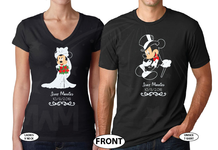 Minnie Mouse Bride, Mickey Mouse Groom, Just Married With Wedding Date, Married With Mickey, world's cutest matching couple shirts black tshirts