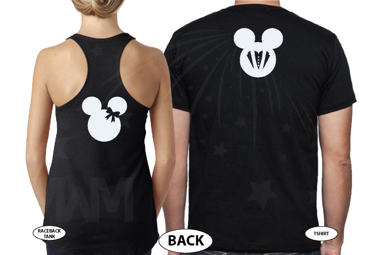 Minnie Mouse Bride, Mickey Mouse Groom, Just Married With Wedding Date, Married With Mickey, world's cutest matching couple shirts black tee and tank
