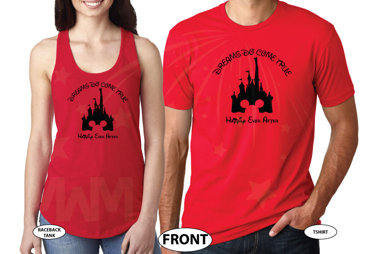 Cinderella Castle Mickey Mouse Head, Dreams Do Come True, Happily Ever After world's cutest matching couple shirts, married with mickey red tee and tank