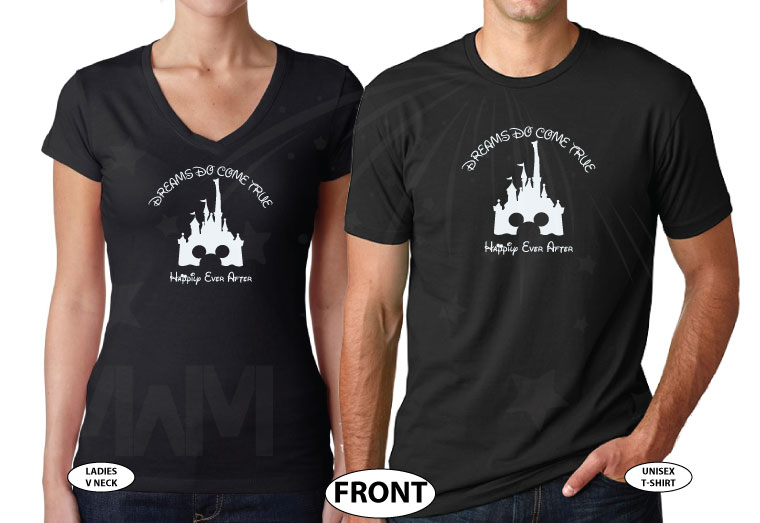 Cinderella Castle Mickey Mouse Head, Dreams Do Come True, Happily Ever After world's cutest matching couple shirts, married with mickey black tshirts