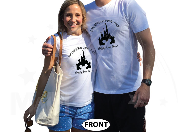 Cinderella Castle Mickey Mouse Head, Dreams Do Come True, Happily Ever After world's cutest matching couple shirts, married with mickey white tshirts