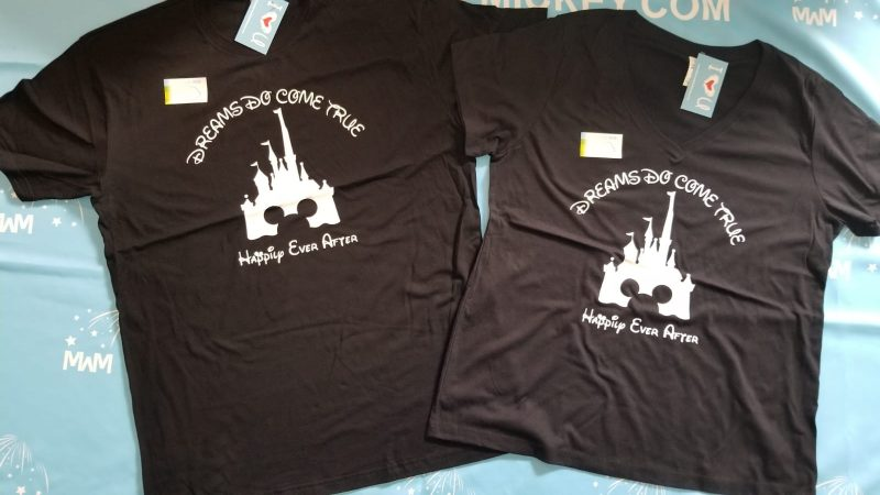 Cinderella Castle Mickey Mouse Head, Dreams Do Come True, Happily Ever After, married with mickey, black matching t shirts