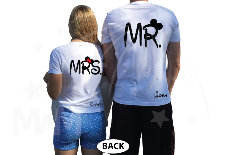 Mr and Mrs Couple Shirts, Custom Names, Mickey Minnie Mouse Cute Kissing married with mickey world's cutest matching couple shirts white tshirts