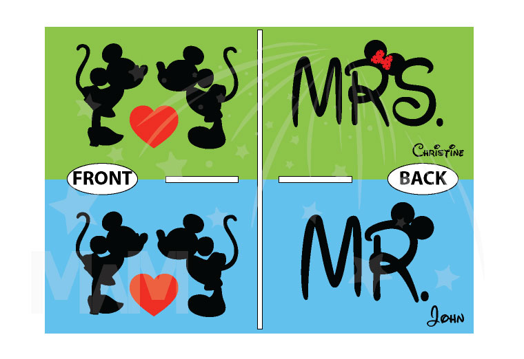 Mr and Mrs Couple Shirts, Custom Names, Mickey Minnie Mouse Cute Kissing married with mickey world's cutest matching couple shirts