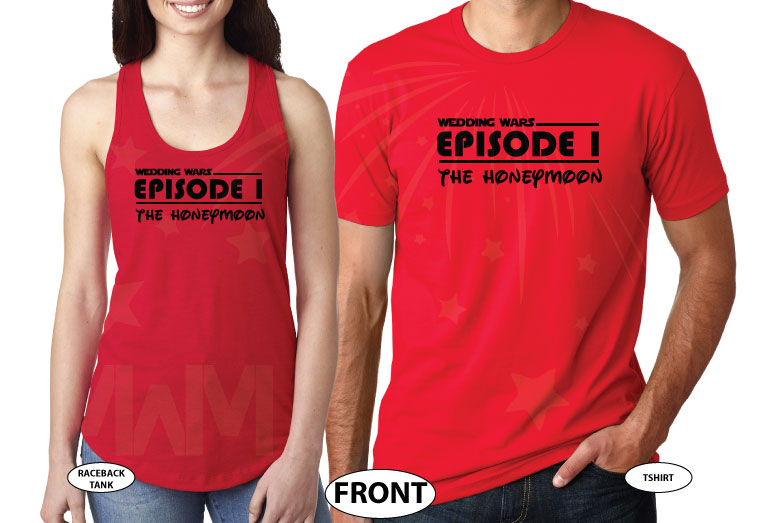 Wedding Wars, Episode 1, The Honeymoon, Disneymoon married with mickey world's cutest matching couple shirts red tee and tank