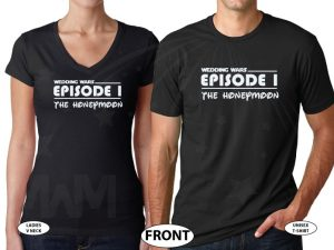 Wedding Wars, Episode 1, The Honeymoon, Disneymoon married with mickey world's cutest matching couple shirts black v neck and round neck