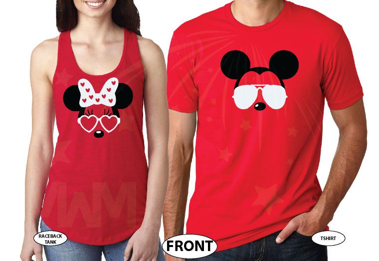 Mickey Minnie Mouse Disney Super Cute Couple, Holding Hands, Our First Disney Trip 2018, Married With Mickey world's cutest matching couple shirts red tee and tank