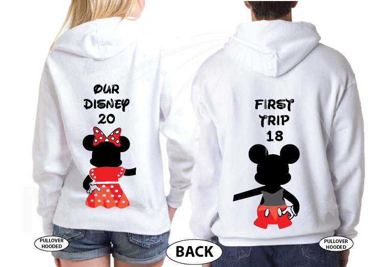 Mickey Minnie Mouse Disney Super Cute Couple, Holding Hands, Our First Disney Trip 2018, Married With Mickey world's cutest matching couple shirts white hoodies