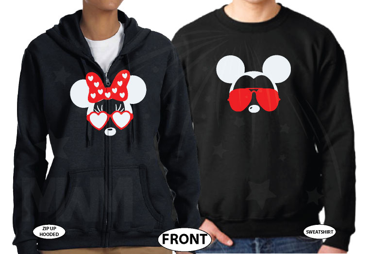 Mickey Minnie Mouse Disney Super Cute Couple, Holding Hands, Our First Disney Trip 2018, Married With Mickey world's cutest matching couple shirts black sweaters