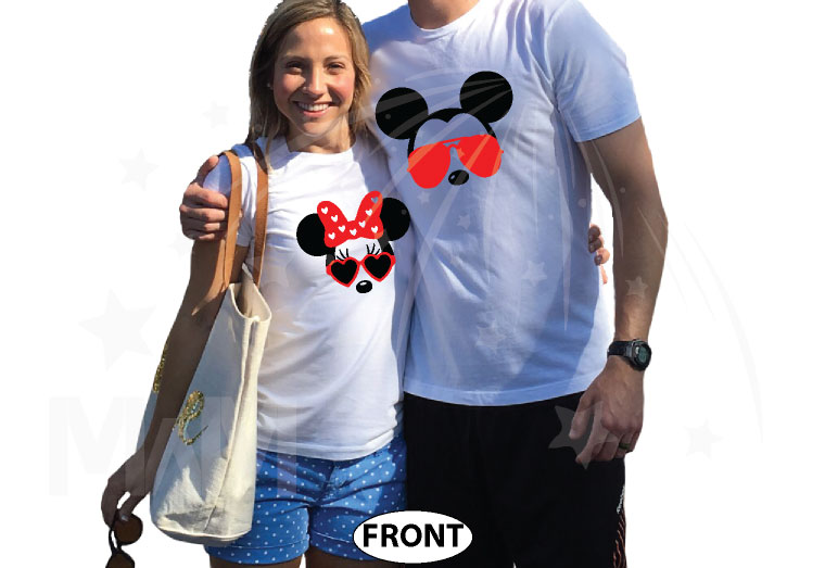 Mickey Minnie Mouse Disney Super Cute Couple, Holding Hands, Our First Disney Trip 2018, Married With Mickey world's cutest matching couple shirts white shirts