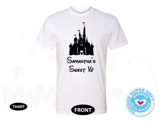 Sweet 16 Shirt With Disney Castle And Custom Name, Next Level Premium Fitted Sueded Super Soft Crewneck, Married With Mickey 500210am