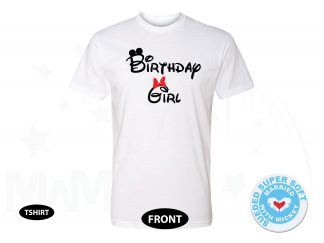 Birthday Girl Minnie Mouse Cute Red Bow On Shirt, Next Level Premium Fitted Sueded Super Soft Crewneck, Married With Mickey 500283am