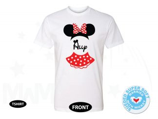 Minnie Mouse Costume Minnie Polka Dot Skirt Mouse Ears With Custom Name, Next Level Premium Fitted Sueded Super Soft Crewneck, Married With Mickey 500409am
