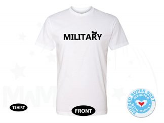 Military Design With Mickey Mouse Ears, Next Level Premium Fitted Sueded Super Soft Crewneck, Married With Mickey 500442am