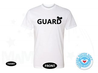 Guard Design With Mickey Mouse Ears, Next Level Premium Fitted Sueded Super Soft Crewneck, Married With Mickey 500444am